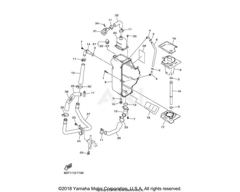 Yamaha OEM 8KC-E3758-00-00 PIPE, JOINT