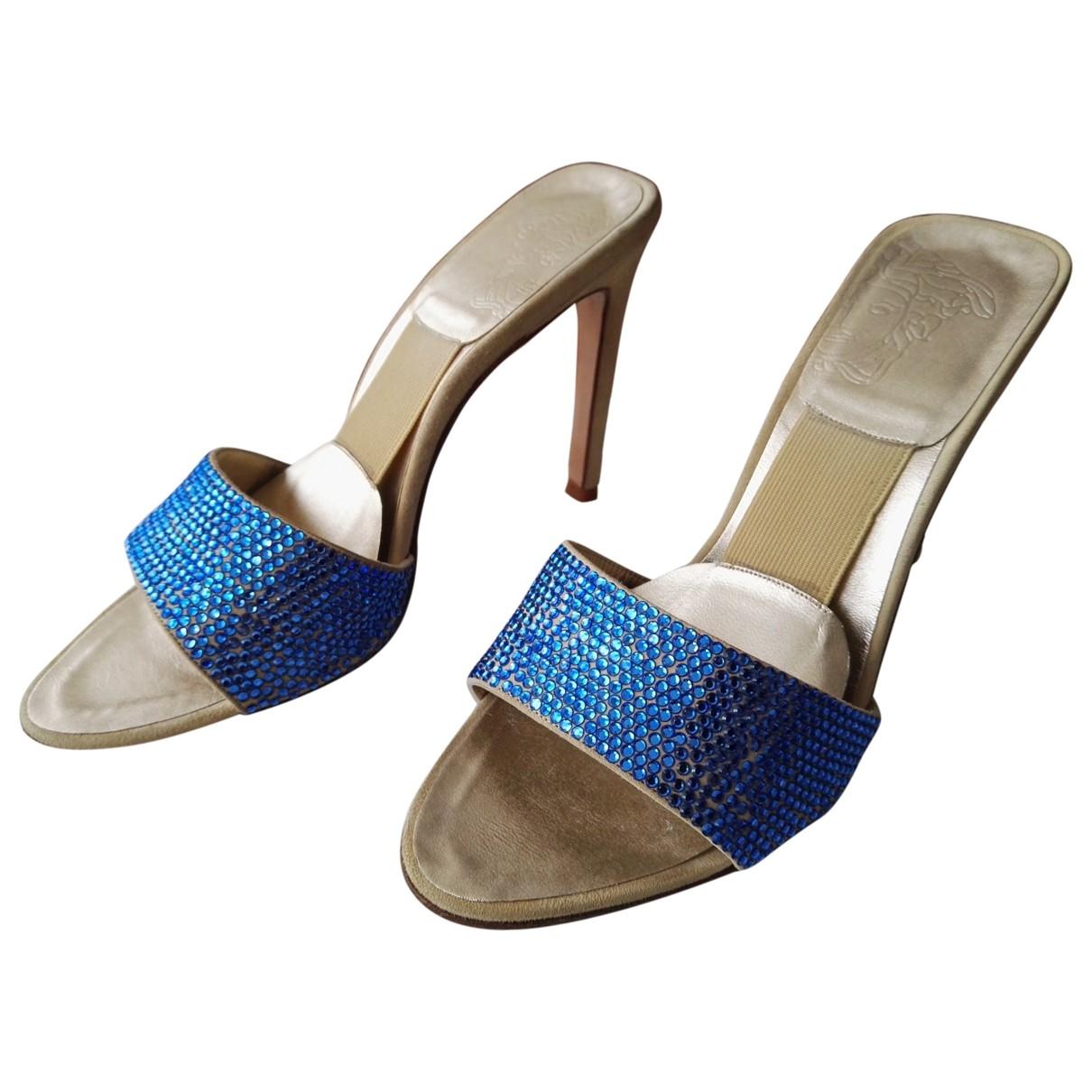 Gianni Versace - Sandales   pour femme en a paillettes - bleu