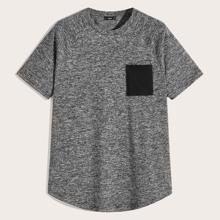 Maenner Strick T-Shirt mit Taschen Flicken