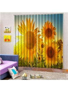 3D Digital Printing Curtain Dust Proof Blackout Living Room Curtain with Lively Sunflowers at Dawn Pattern 200g/m² Polyester 80% Shading Rate and UV R