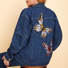 Denim Jacke mit Schmetterling Stickreien und einreihiger Knopfleiste