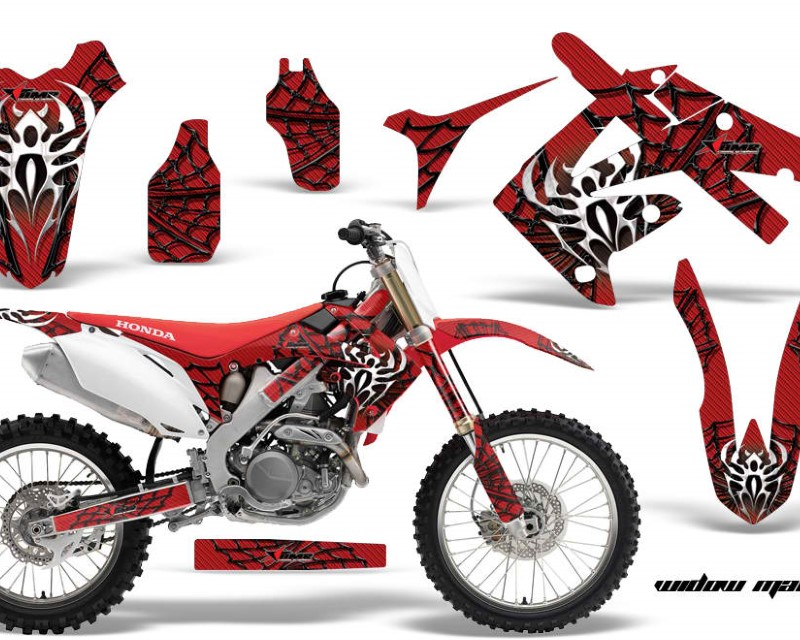 AMR Racing Dirt Bike Graphics Kit Decal Sticker Wrap For Honda CRF250R 2010-2013áWIDOW BLACK RED