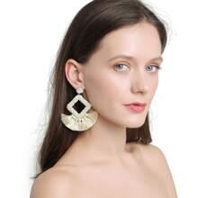Tassel Decor Geometric Drop Earrings