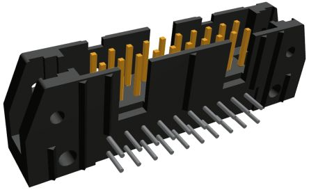 TE Connectivity , AMP-LATCH, 20 Way, 2 Row, Right Angle PCB Header