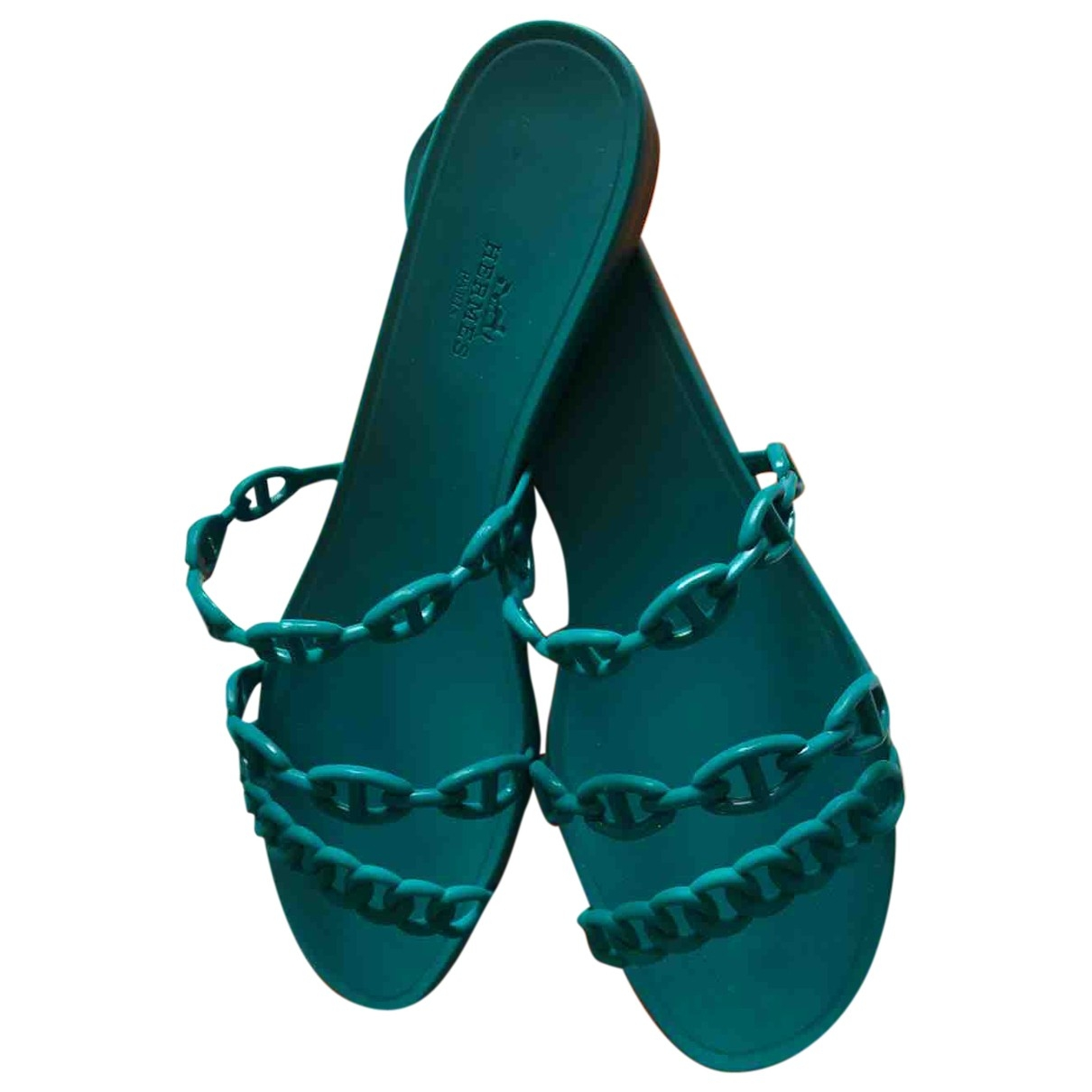 Hermes - Sandales Nude pour femme en caoutchouc - vert