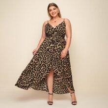 Vestidos Tallas Grandes Asimetrico Leopardo Elegante