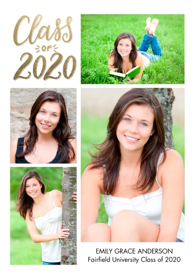 2020 Graduation Announcements 5x7 Cards, Premium Cardstock 120lb with Scalloped Corners, Card & Stationery -Grad 2020 Memories by Tumbalina