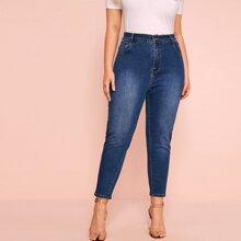 Plus Pocket Washed Skinny Jeans