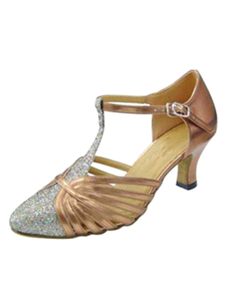 Milanoo Latin Dance Shoes Glitter Pointed Toe T Type 1920s Flapper Shoes Women Ballroom Shoes