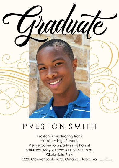 Graduation Invitations 5x7 Cards, Standard Cardstock 85lb, Card & Stationery -Graduate Lettering & Swirls