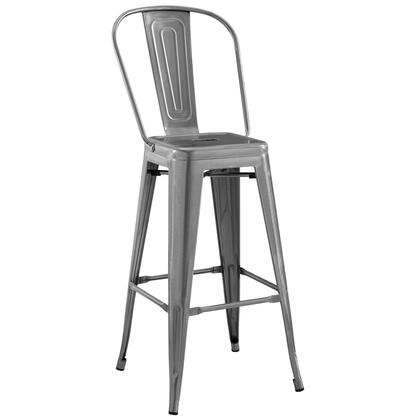 Promenade Collection EEI-2815-GME Bistro Bar Side Stool with Industrial Style  Non-Marking Foot Caps and Powder Coated Steel in Gunmetal
