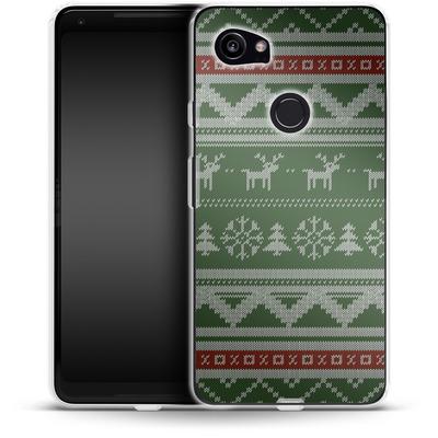 Google Pixel 2 XL Silikon Handyhuelle - Norwegian Jumper Green von caseable Designs