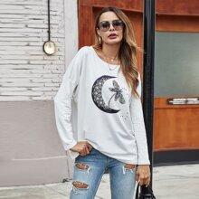 T-Shirt mit Libelle & Stern Muster und sehr tief angesetzter Schulterpartie
