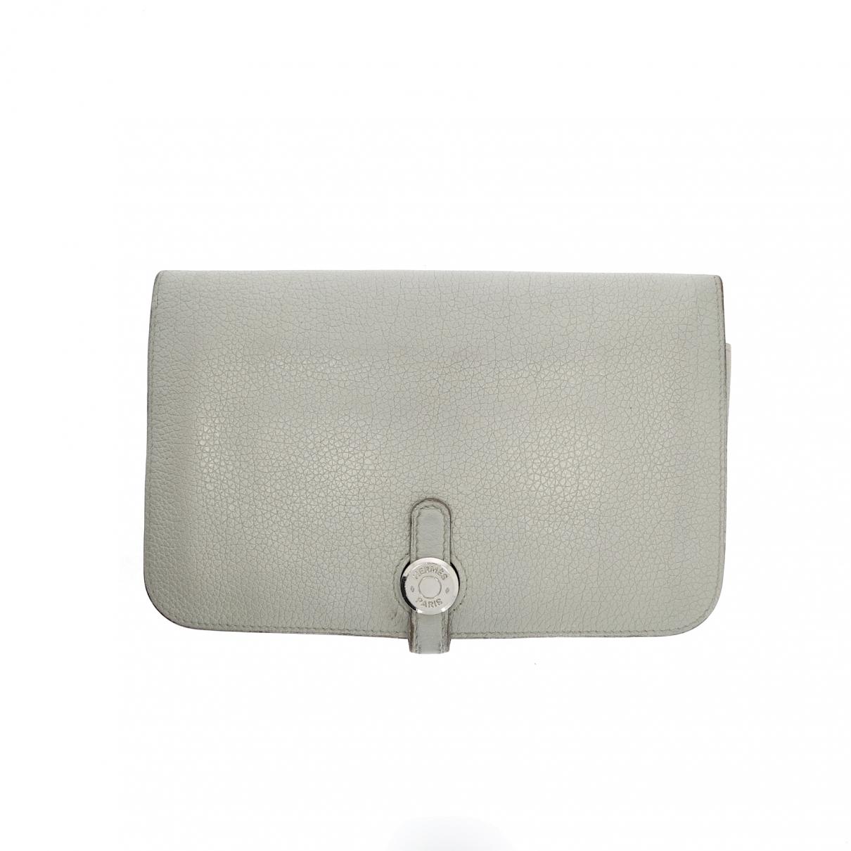 Hermes - Portefeuille Dogon pour femme en cuir - gris
