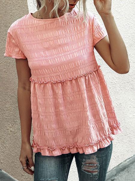 Milanoo Tunic Top Women Pink Jewel Neck Casual Short Sleeves Chiffon Tops