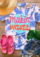 Makin' Waves Tie Dye T-Shirt Tee - Blue