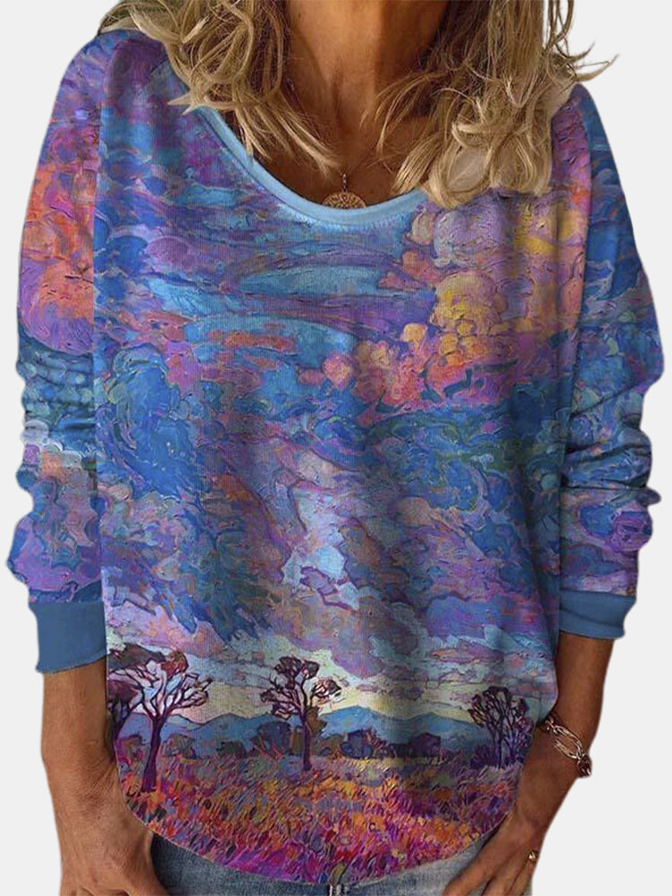 Evening Glow Hedging Print O-neck Casual Plus Size Blouse