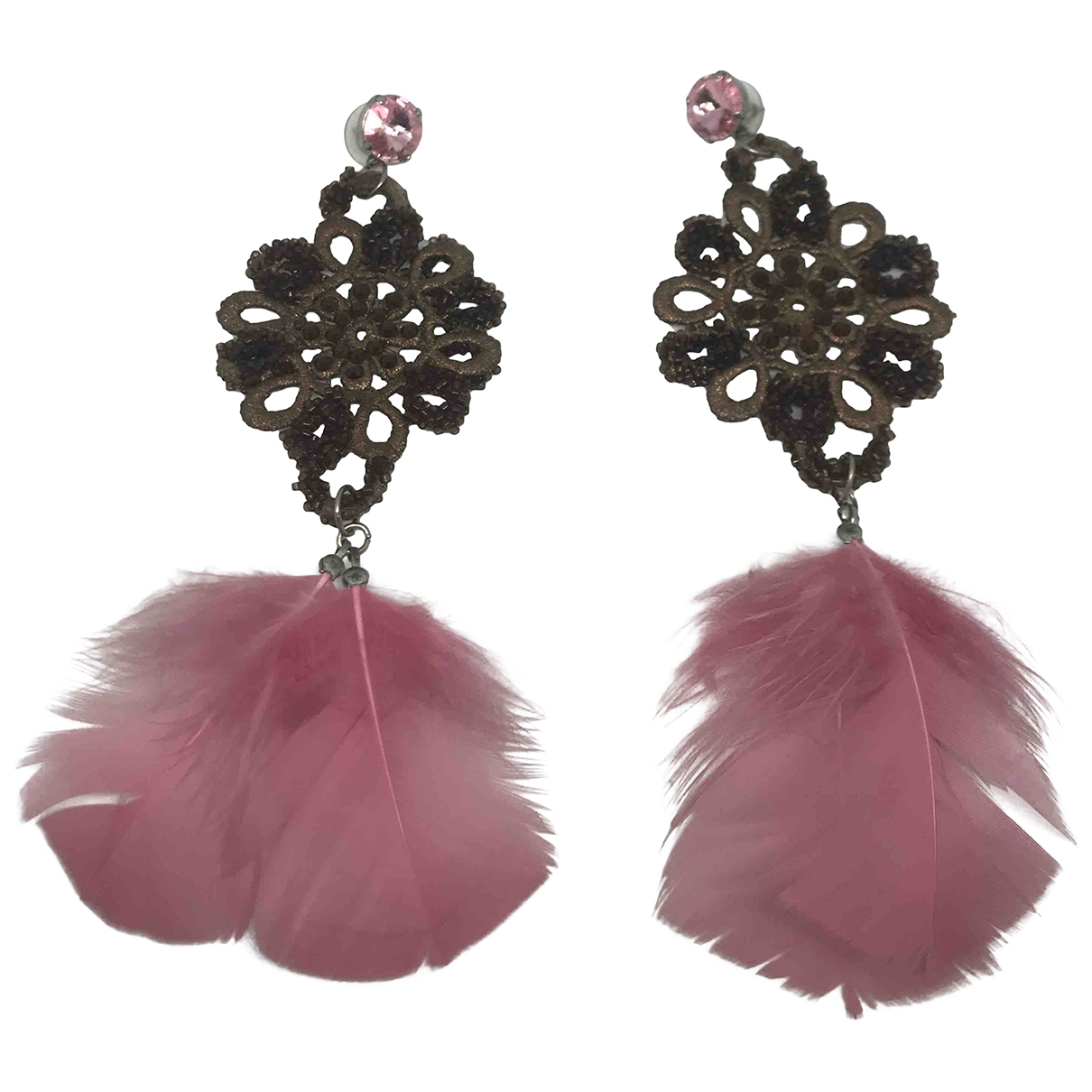 Non Signé / Unsigned \N Pink Cloth Earrings for Women \N