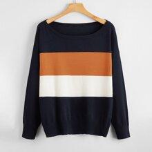 Pullover mit Bootskragen und Kontrast Einsatz