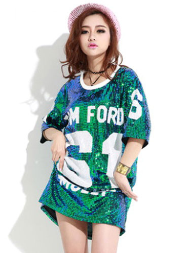 Milanoo Sequined Dance Costumes Black Printed 2020 Hip Hop Clothing Dance Costume