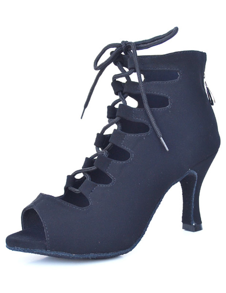 Milanoo Dance Shoes Lace Up Peep Toe Zipper Strappy Women's Ballroom Shoes