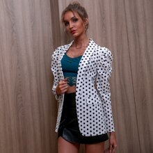 D&M Gigot Sleeve Polka-dot Print Blazer