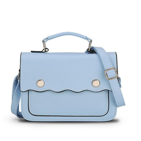 Women Solid PU Leather Crossbody Bag Leisure Handbag