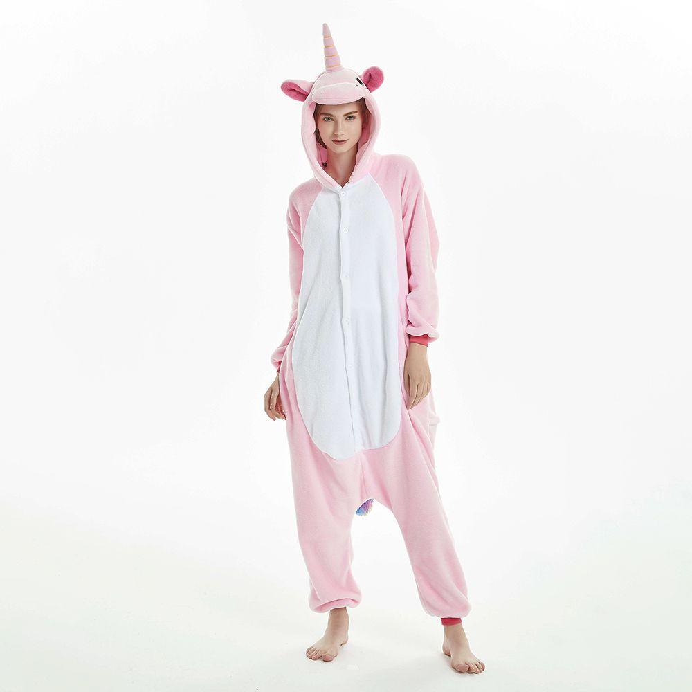 Rose et blanc nuisette femmes hiver Pijama chaud Pegasus maison porter des vetements de nuit grenouilleres de bande dessinee