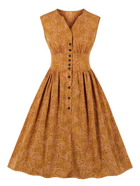 Milanoo Vestido vintage verde Botones con cuello en v de los años 50 Vestido sin mangas con estampado floral en capas hasta la rodilla