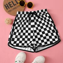 Girls Tie Waist Checkered Dolphin Shorts