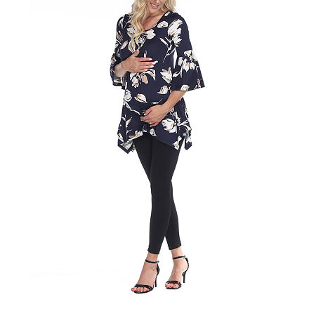 White Mark-Plus Maternity Roche Womens Scoop Neck 3/4 Sleeve Tunic Top, 1x , Blue