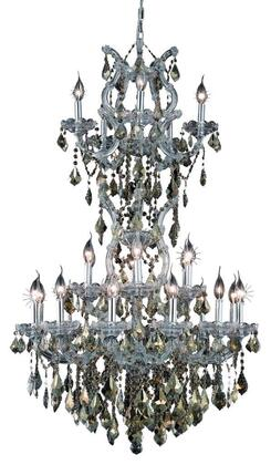 2800D30SC-GT/RC 2800 Maria Theresa Collection Large Hanging Fixture D30in H50in Lt: 23+2 Chrome Finish (Royal Cut Golden Teak