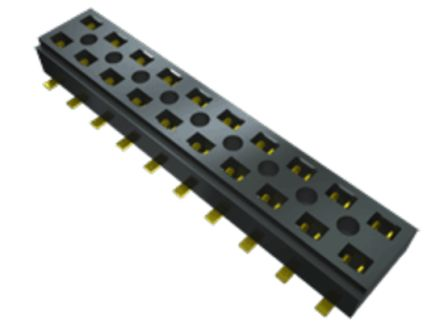 Samtec , CLT 2mm Pitch 10 Way 2 Row Straight PCB Socket, Surface Mount, Solder Termination (56)
