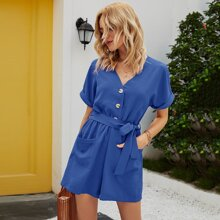 Dual Pockets Button Front Belted Romper