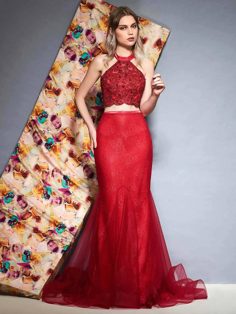 Ericdress Halter Two Pieces Mermaid Evening Dress