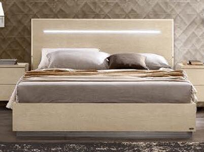 AMBRABEDQS 69 Queen Sized Bed with Lights on Headboard  Wooden Construction and Lacquered Finish in