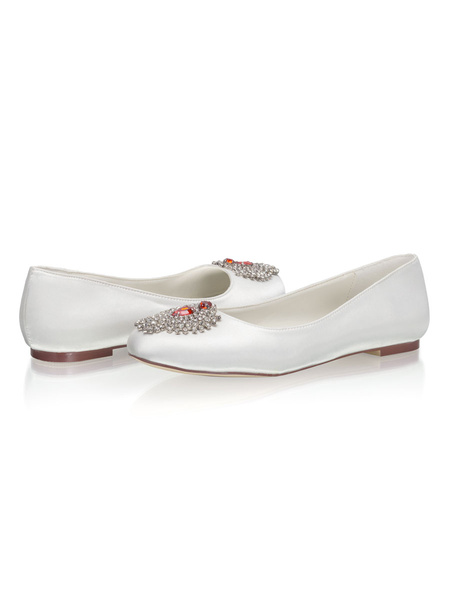 Milanoo Flat Wedding Shoes Satin Round Toe Comfy Bridal Shoes With Rhinestones