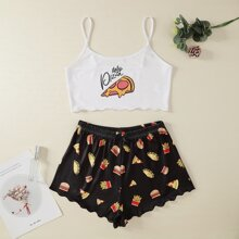 Pizza & Hamburger Print Pajama Set
