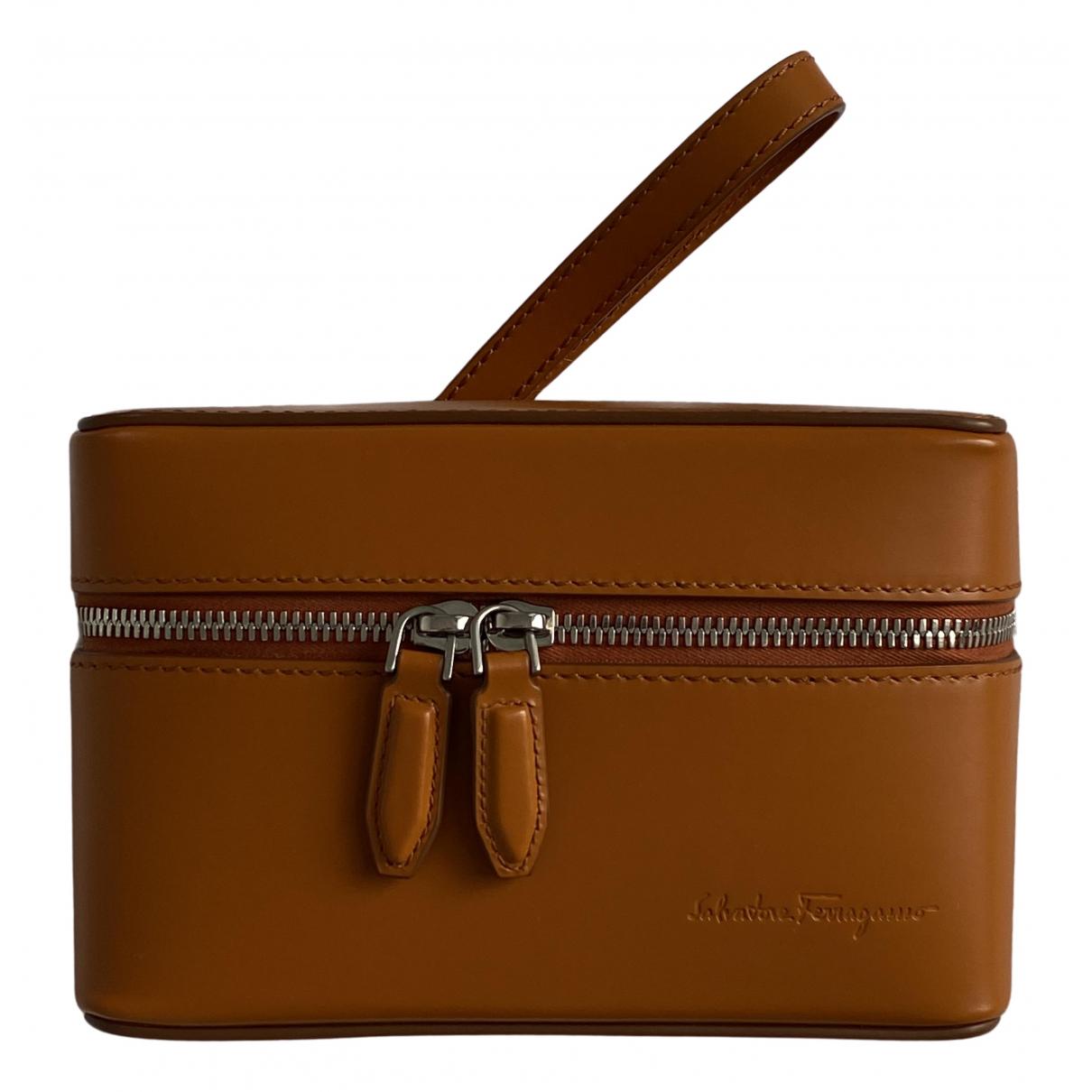 Salvatore Ferragamo N Orange Leather Clutch bag for Women N
