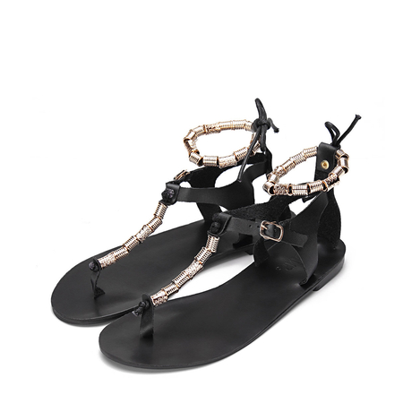 Yoins Black Beaded T-bar Shape Lace-up Flat Sandals