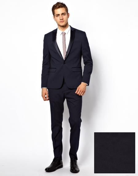 Mens Slim Fit Tuxedo Suit in Navy