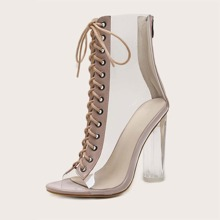 Clear Lace-up Front Heels