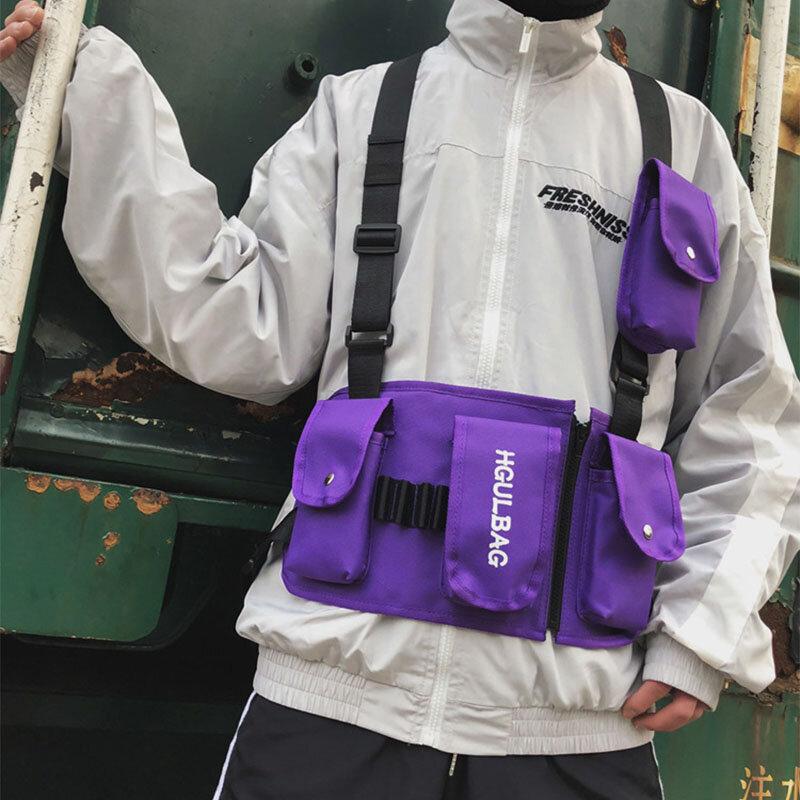 Men Oxford Vest Casual Tactical Multi-pocket Chest Bag Crossbody Bag