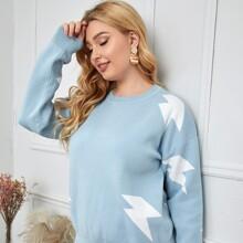 Pullover mit Blitz Muster und sehr tief angesetzter Schulterpartie