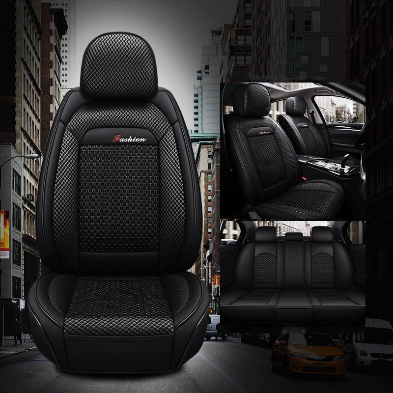 Country Style PU Leather+Ice Silk Materials Breathable Comfortable Airbag Compatibility Universal Fit Seat Covers
