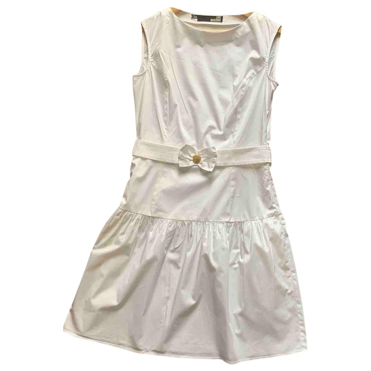 Moschino Love \N White Cotton dress for Women 44 IT