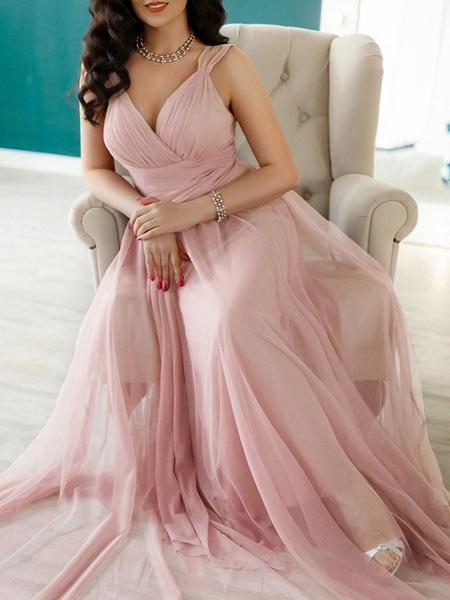 Milanoo Vestido de dama de honor rosa gasa Una linea de vestido de fiesta de boda hasta el suelo