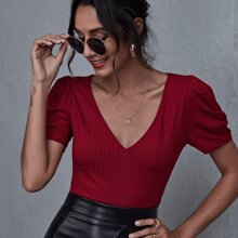 V-neck Ruched Puff Sleeve Rib-knit Top