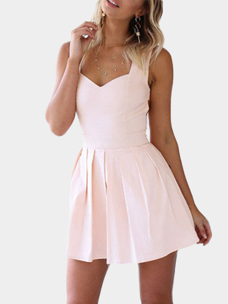 Yoins Heart Cut Out Mini Party Dress in Pink