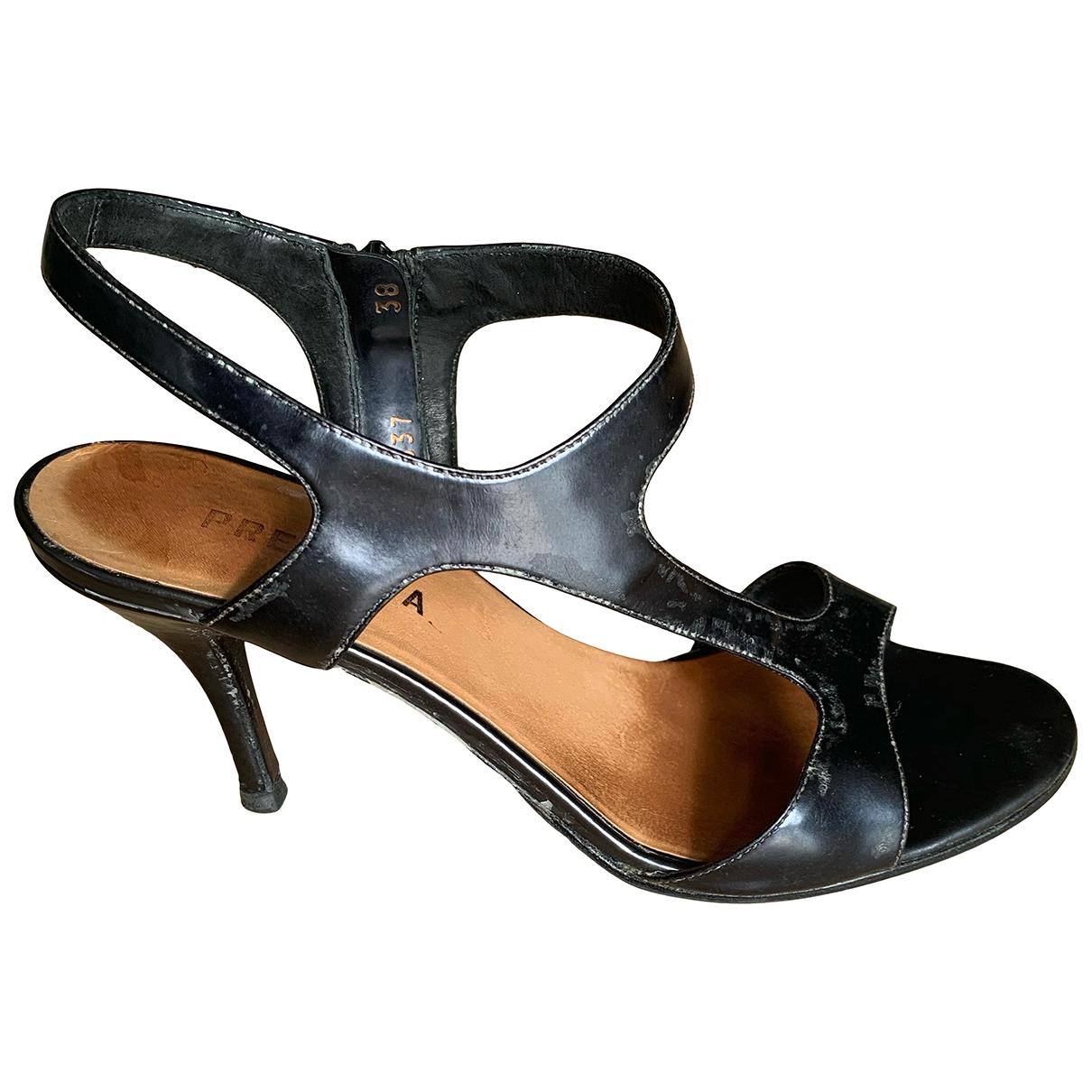 Premiata - Sandales   pour femme en cuir verni - anthracite